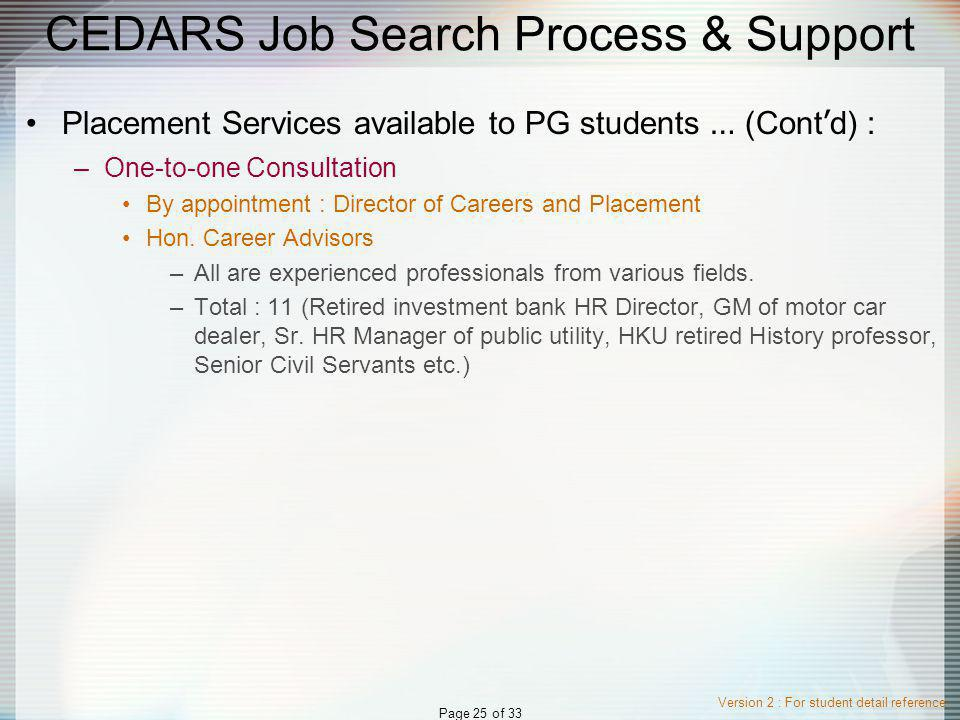Version 2 : For student detail reference Page 25 of 33 CEDARS Job Search Process & Support Placement Services available to PG students … (Cont d) : –One-to-one Consultation By appointment : Director of Careers and Placement Hon.