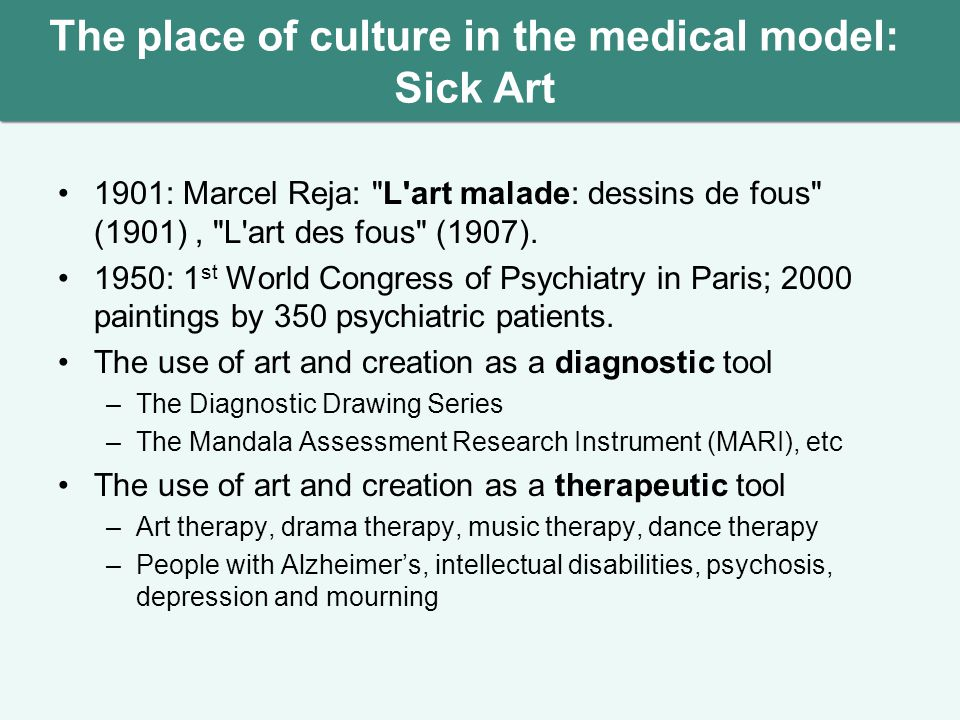 The place of culture in the medical model: Sick Art 1901: Marcel Reja: L art malade: dessins de fous (1901), L art des fous (1907).
