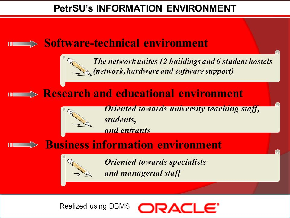 INFORMATION ENVIRONMENT for project leader Realized using DBMS FURTHER PLANNED providing project leader at each stage with services on project resources management.