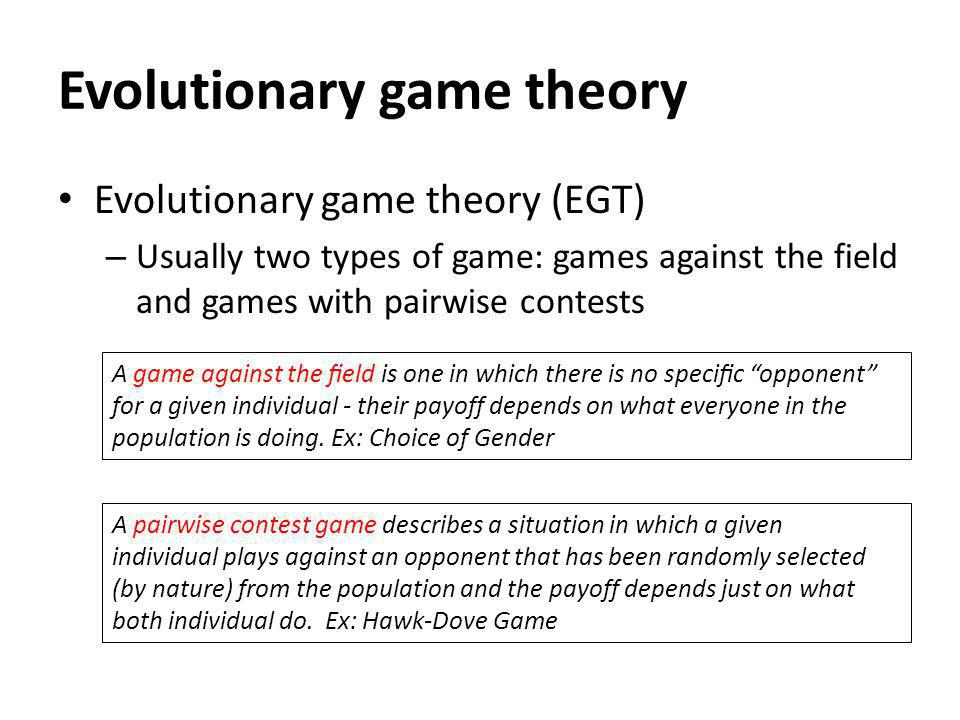 evolutionary game theory thesis Evolutionary game theory student 1 evolutionary game theory: the game of life overview this unit examines the role that behavior plays in evolutionary fitness through studying and playing games, you will develop an understanding of natural selection as organisms compete for limiting resources (eg food, water, space, mates, safety, etc.