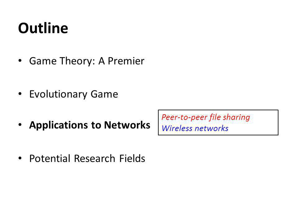 Outline Game Theory: A Premier Evolutionary Game Applications to Networks Potential Research Fields Peer-to-peer file sharing Wireless networks