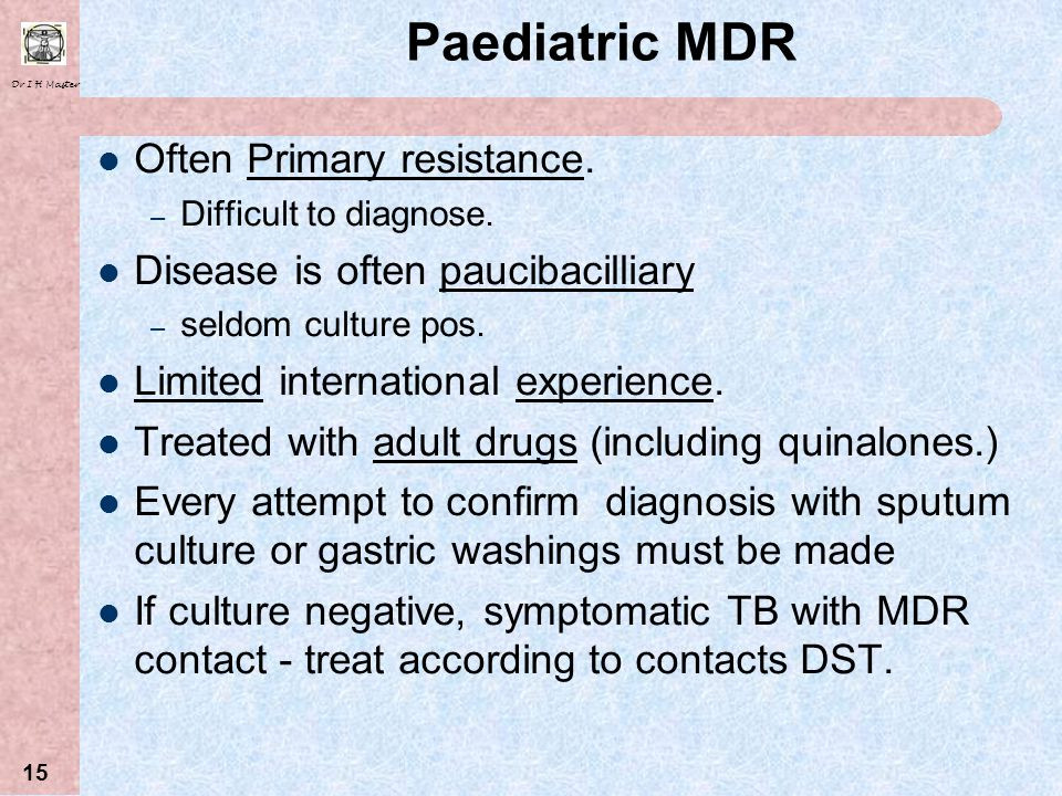 Dr I H Master 14 Drug Costs DrugCost ( per patient per month) STD TB (intensive phase) R67 STD TB (continuation phase) R43 MDR (intensive phase) R1033