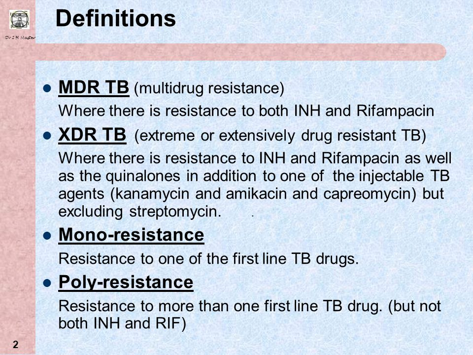 Dr I H Master 22 Surgery In MDR/XDR TB Primary treatment for MDR TB is medical Indications for Surgery – If localized disease (1 lung) and Persistant sputa positive after 6 months treatment Relapse after adequate treatment and good compliance .