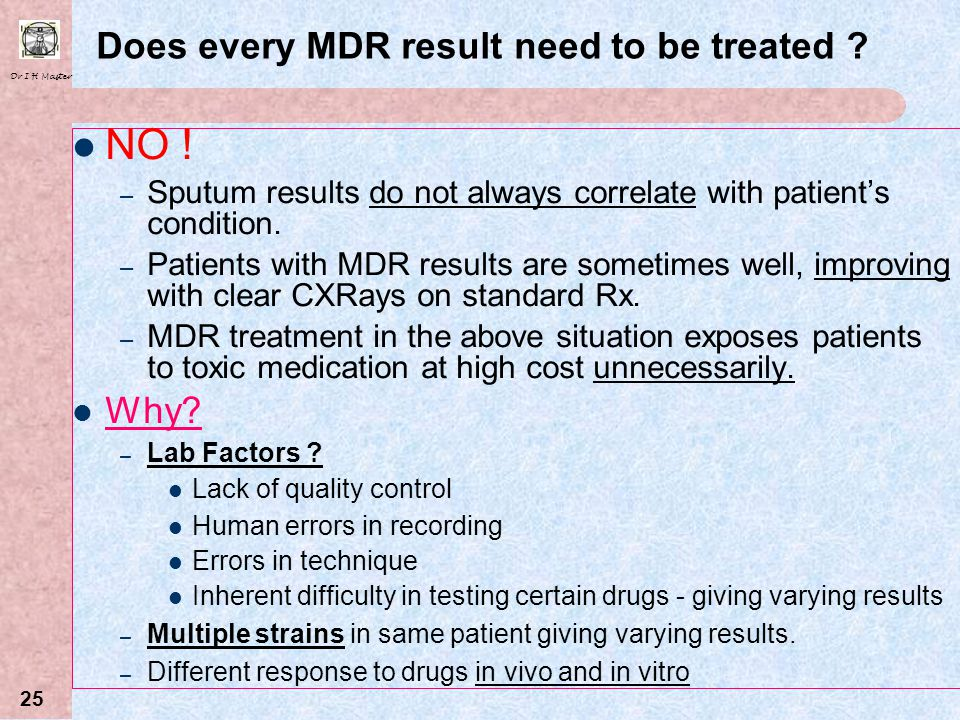 Dr I H Master 24 MDR Contacts Routine prophylaxsis with 2 nd line treatment not recommended. Assess all close contacts of MDR patients. Evaluate risk