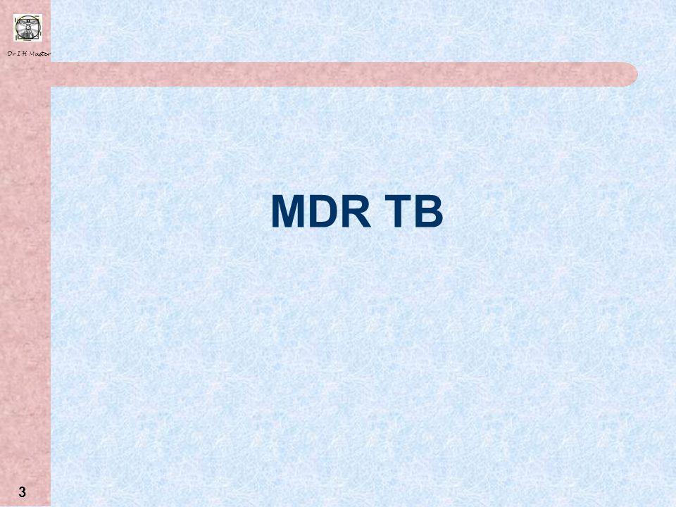 Dr I H Master 13 Drug CostCost (per patient per month) PAS R 2360 (R1600) Capreomycin R 1400 (R800) Moxifloxacin R 785 Terizidone R 579 (R650) Cycloserine R 522 (R600) Klacid R 228 Amikacin R 216 (R400) Kanamycin R 200 (R250) Ethionamide R 177 (R130) Treatment Costs