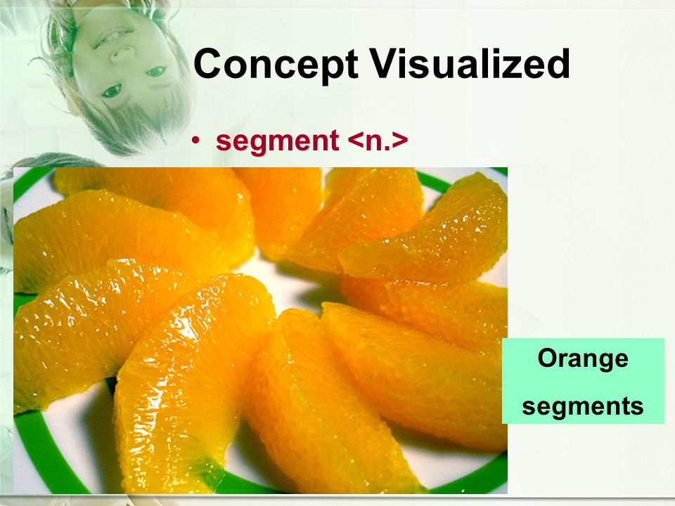 Concept Visualized segment Orange segments