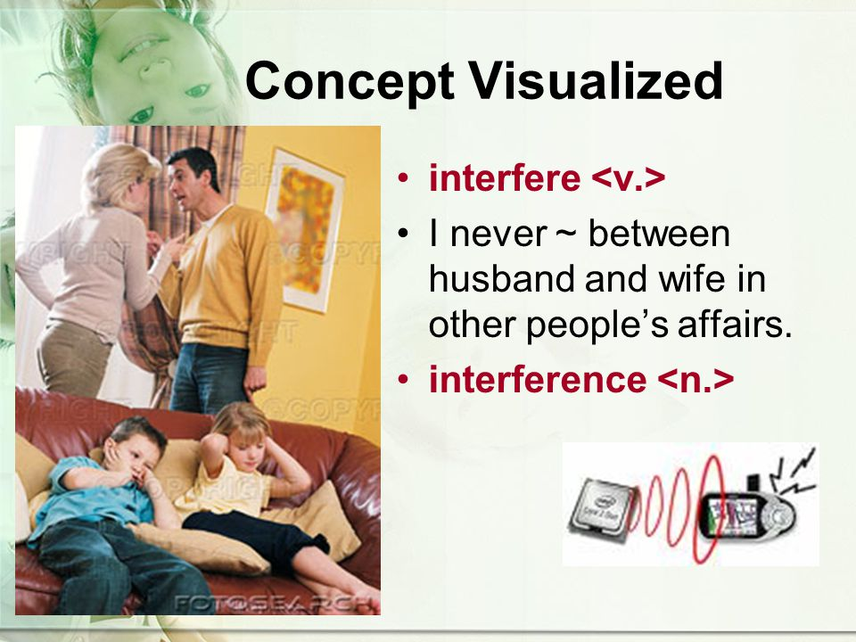 Concept Visualized interfere I never ~ between husband and wife in other peoples affairs.