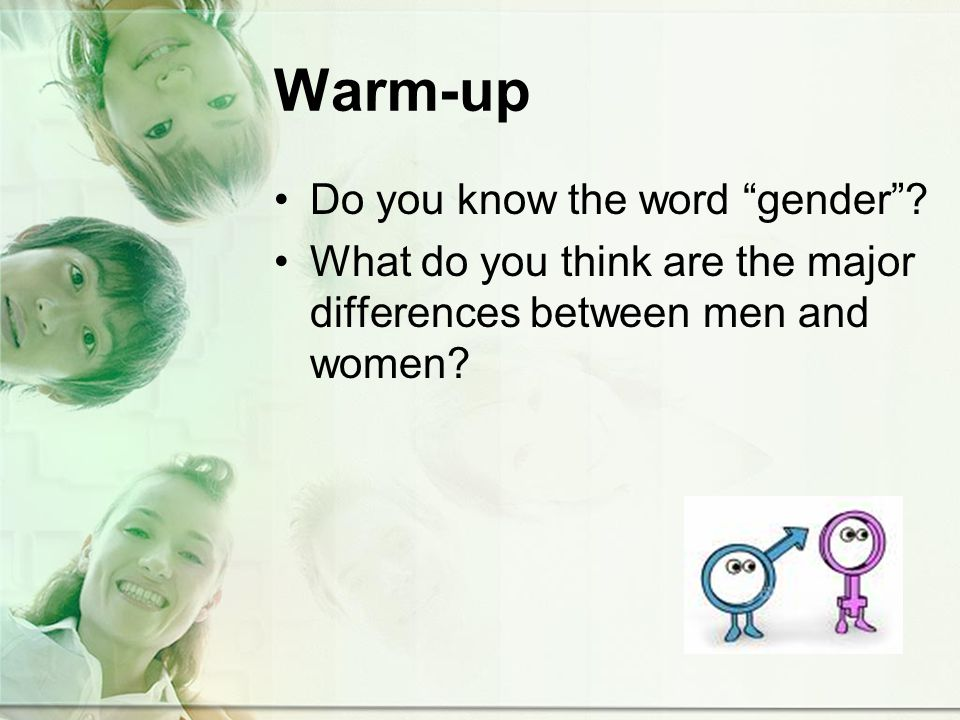Warm-up Do you know the word gender.