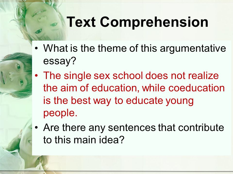 Text Comprehension What is the theme of this argumentative essay.