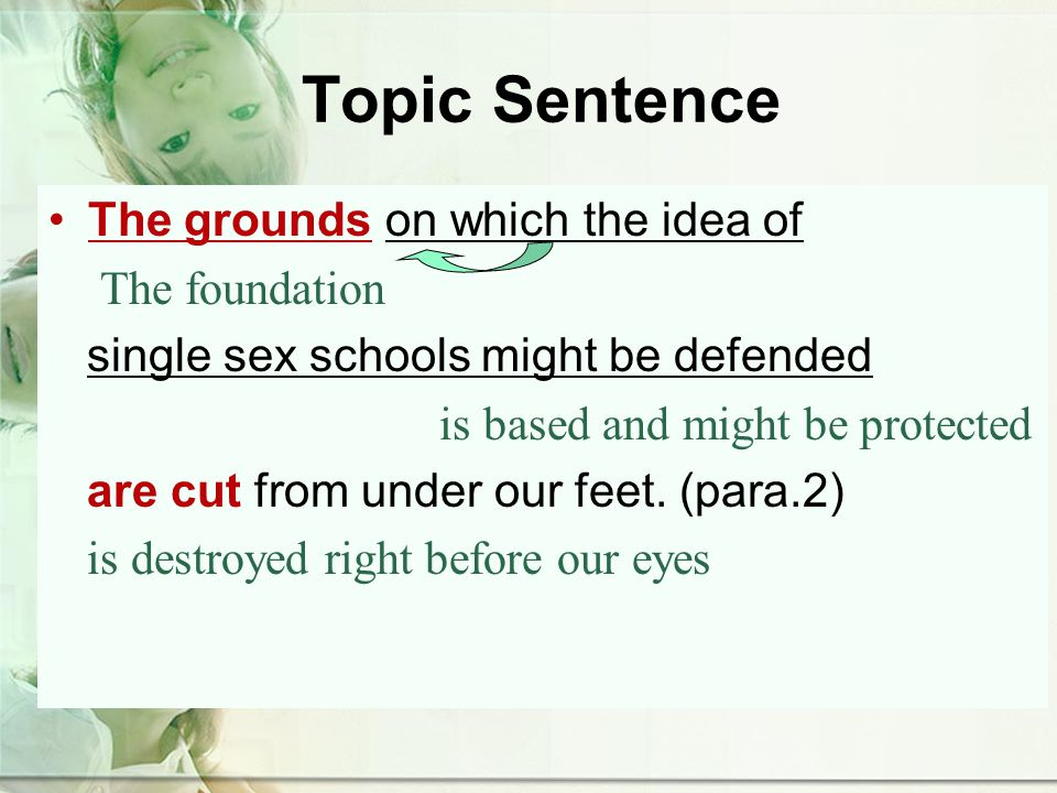 Topic Sentence The grounds on which the idea of The foundation single sex schools might be defended is based and might be protected are cut from under our feet.