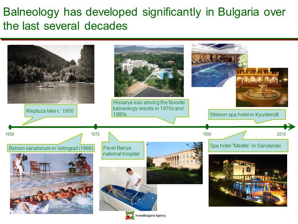 Balneology has developed significantly in Bulgaria over the last several decades 1970201019901950 Balneo sanatorium in Velingrad (1968) Kleptuza lake