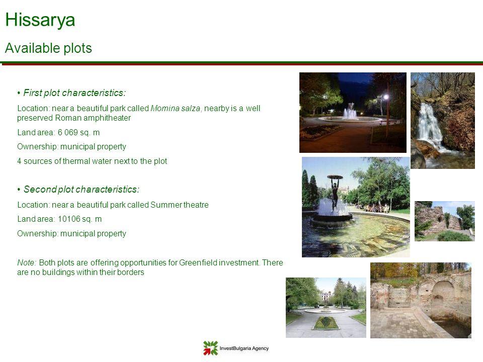Hissarya Available plots First plot characteristics: Location: near a beautiful park called Momina salza, nearby is a well preserved Roman amphitheate