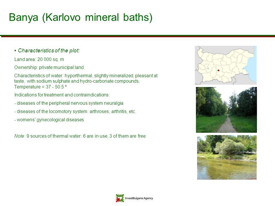 Banya (Karlovo mineral baths) Characteristics of the plot: Land area: 20 000 sq. m Ownership: private municipal land Characteristics of water: hyporth
