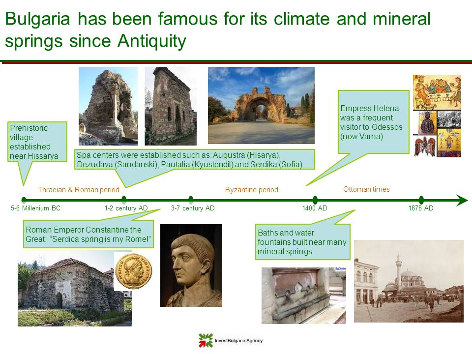 1400 AD Bulgaria has been famous for its climate and mineral springs since Antiquity Ottoman times Thracian & Roman period 5-6 Millenium BC 1878 AD 3-