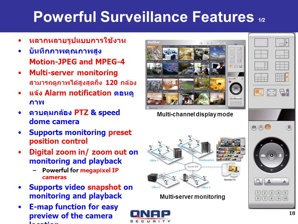 18 Powerful Surveillance Features 1/2 Motion-JPEG and MPEG-4 Multi-server monitoring 120 Alarm notification PTZ & speed dome camera Supports monitorin