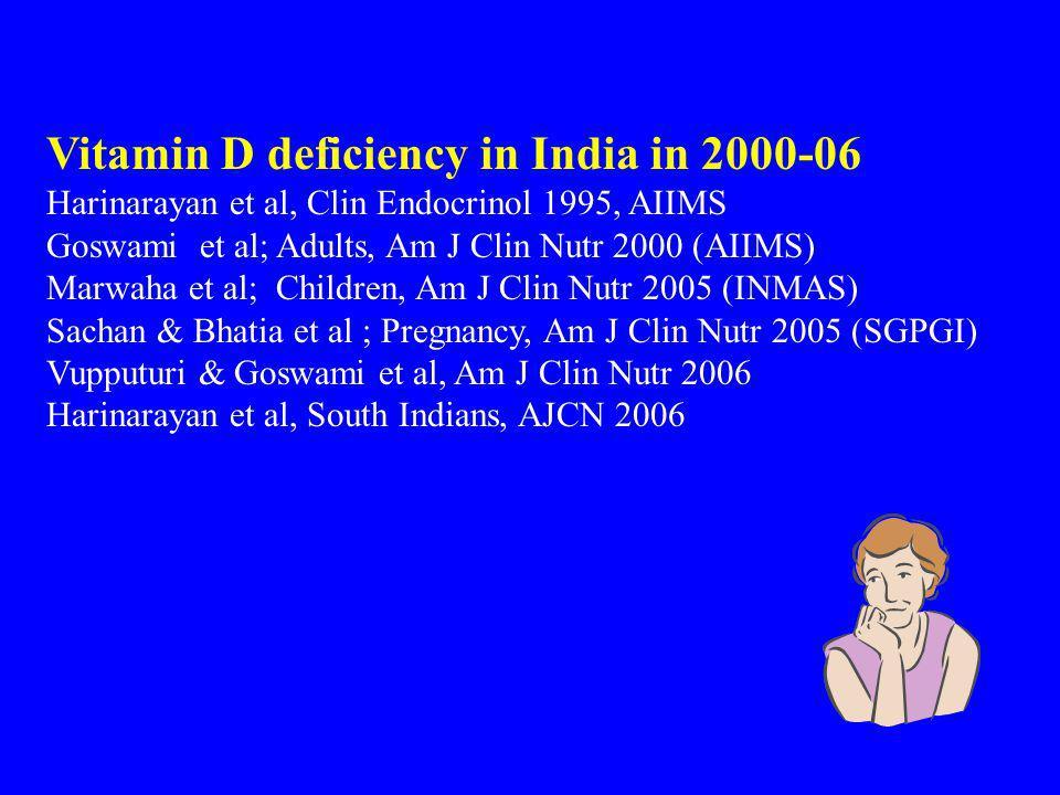 Vitamin D deficiency in India in 2000-06 Harinarayan et al, Clin Endocrinol 1995, AIIMS Goswami et al; Adults, Am J Clin Nutr 2000 (AIIMS) Marwaha et al; Children, Am J Clin Nutr 2005 (INMAS) Sachan & Bhatia et al ; Pregnancy, Am J Clin Nutr 2005 (SGPGI) Vupputuri & Goswami et al, Am J Clin Nutr 2006 Harinarayan et al, South Indians, AJCN 2006