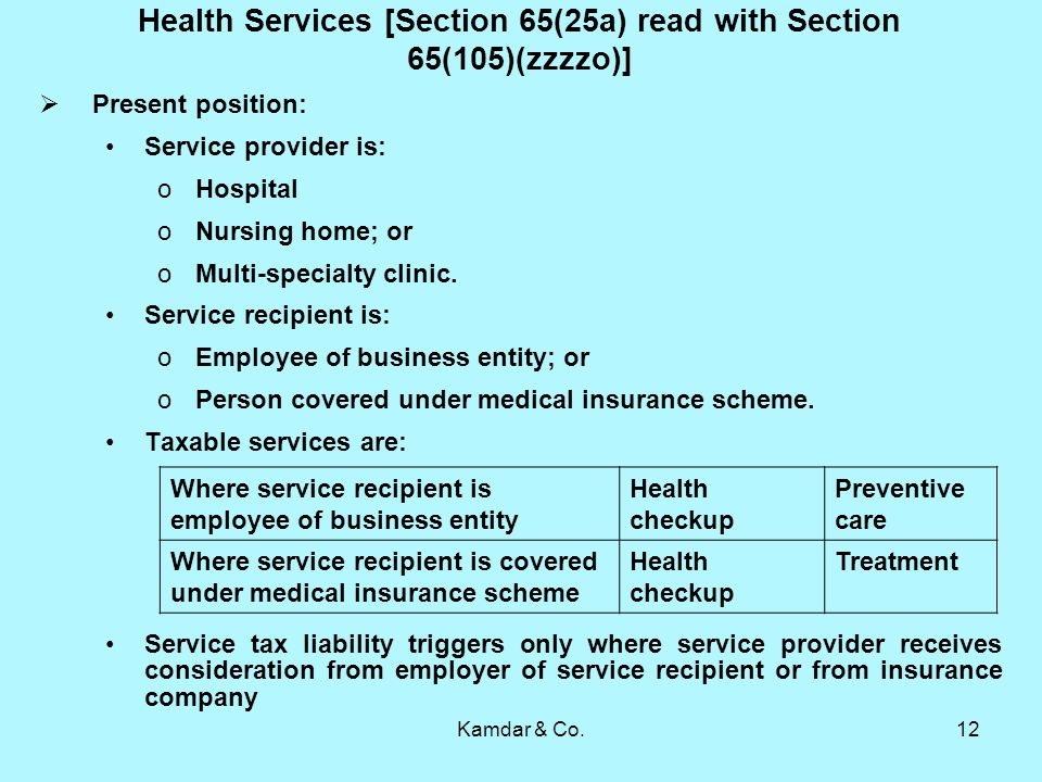 Kamdar & Co.12 Health Services [Section 65(25a) read with Section 65(105)(zzzzo)] Present position: Service provider is: oHospital oNursing home; or oMulti-specialty clinic.
