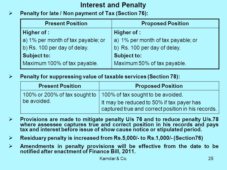 Kamdar & Co.25 Interest and Penalty Penalty for late / Non payment of Tax (Section 76): Penalty for suppressing value of taxable services (Section 78): Provisions are made to mitigate penalty U/s 76 and to reduce penalty U/s.78 where assessee captures true and correct position in his records and pays tax and interest before issue of show cause notice or stipulated period.