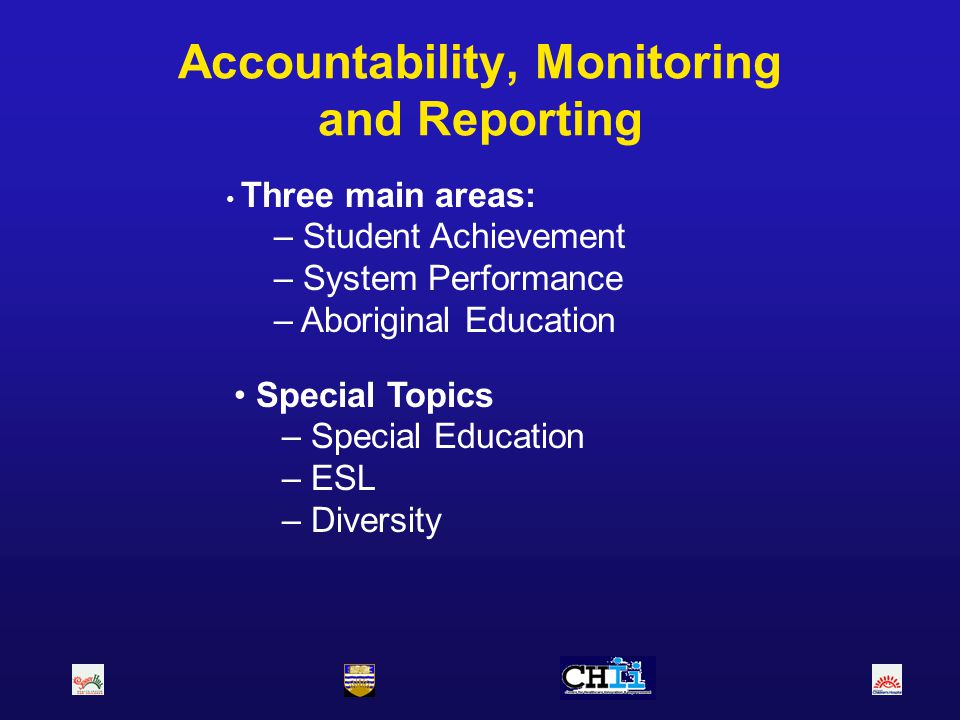 Accountability, Monitoring and Reporting Special Topics – Special Education – ESL – Diversity Three main areas: – Student Achievement – System Perform