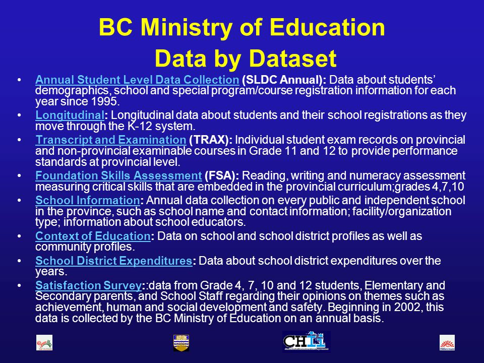 BC Ministry of Education Data by Dataset Annual Student Level Data Collection (SLDC Annual): Data about students demographics, school and special prog