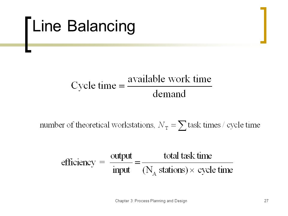 Chapter 3: Process Planning and Design27 Line Balancing