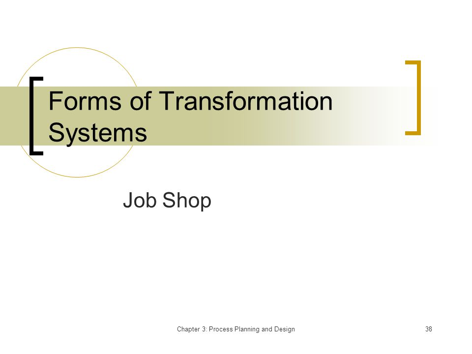 Chapter 3: Process Planning and Design38 Forms of Transformation Systems Job Shop