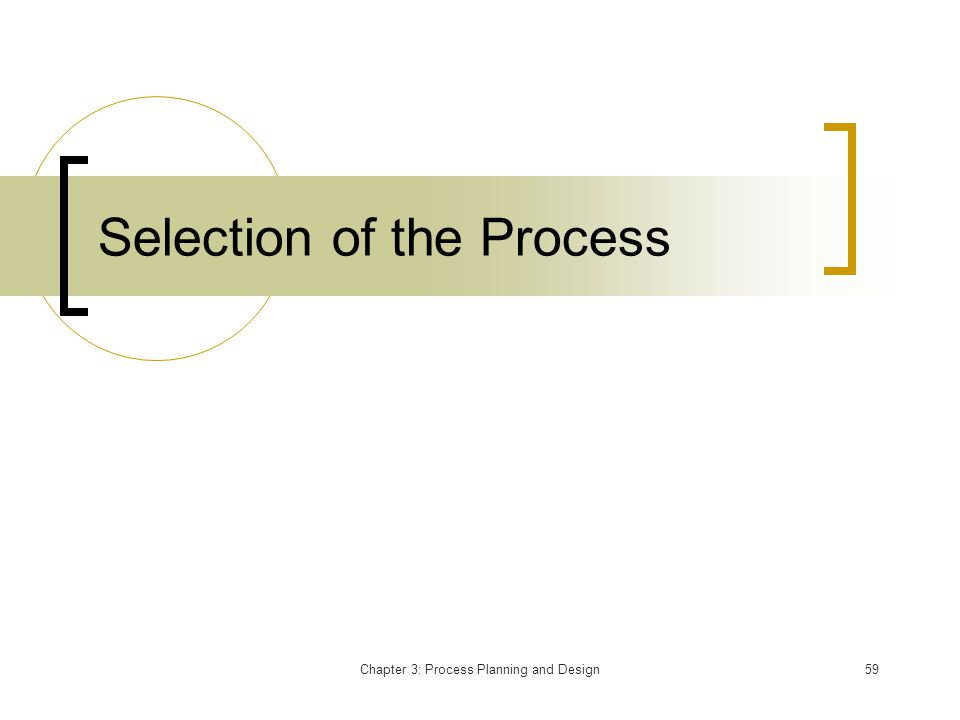 Chapter 3: Process Planning and Design59 Selection of the Process