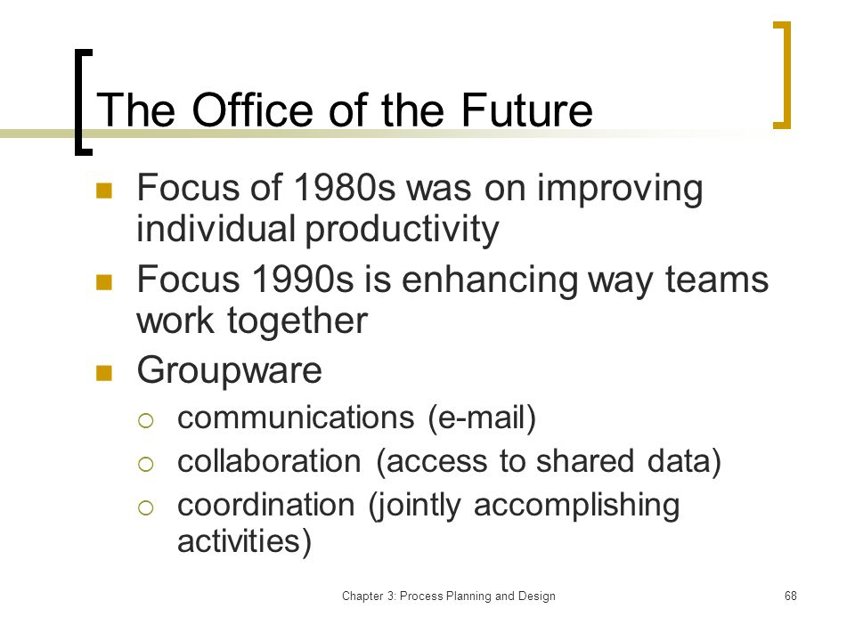 Chapter 3: Process Planning and Design68 The Office of the Future Focus of 1980s was on improving individual productivity Focus 1990s is enhancing way teams work together Groupware communications (e-mail) collaboration (access to shared data) coordination (jointly accomplishing activities)
