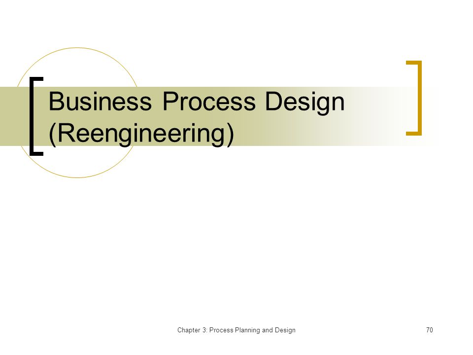 Chapter 3: Process Planning and Design70 Business Process Design (Reengineering)