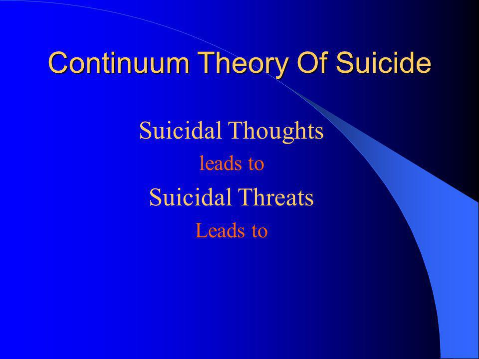 Continuum Theory Of Suicide Suicidal Thoughts leads to Suicidal Threats Leads to