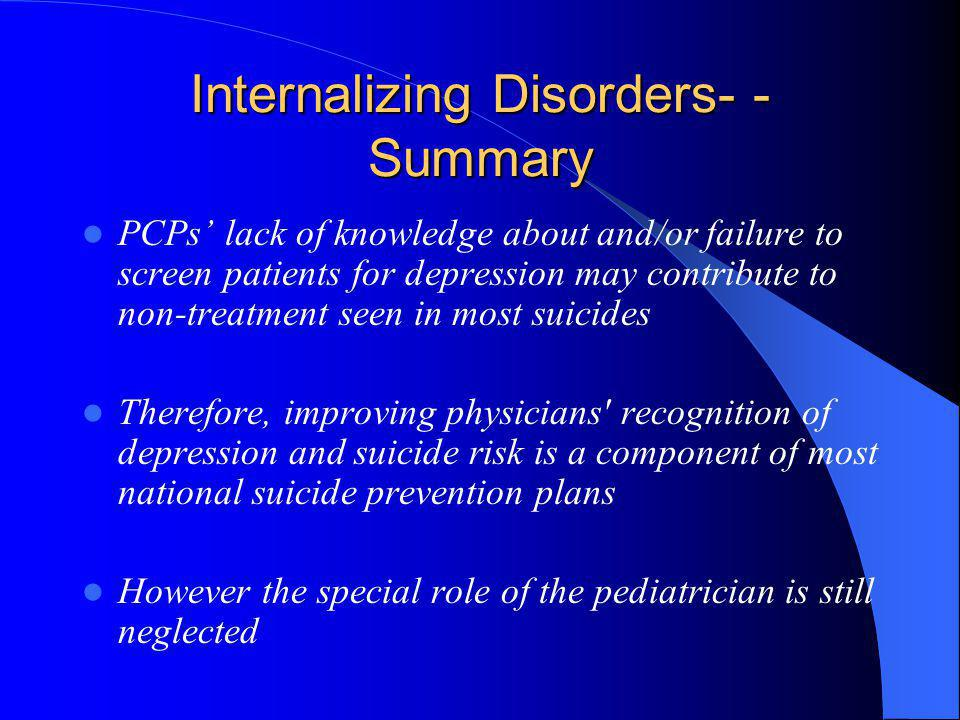 Internalizing Disorders- - Summary PCPs lack of knowledge about and/or failure to screen patients for depression may contribute to non-treatment seen