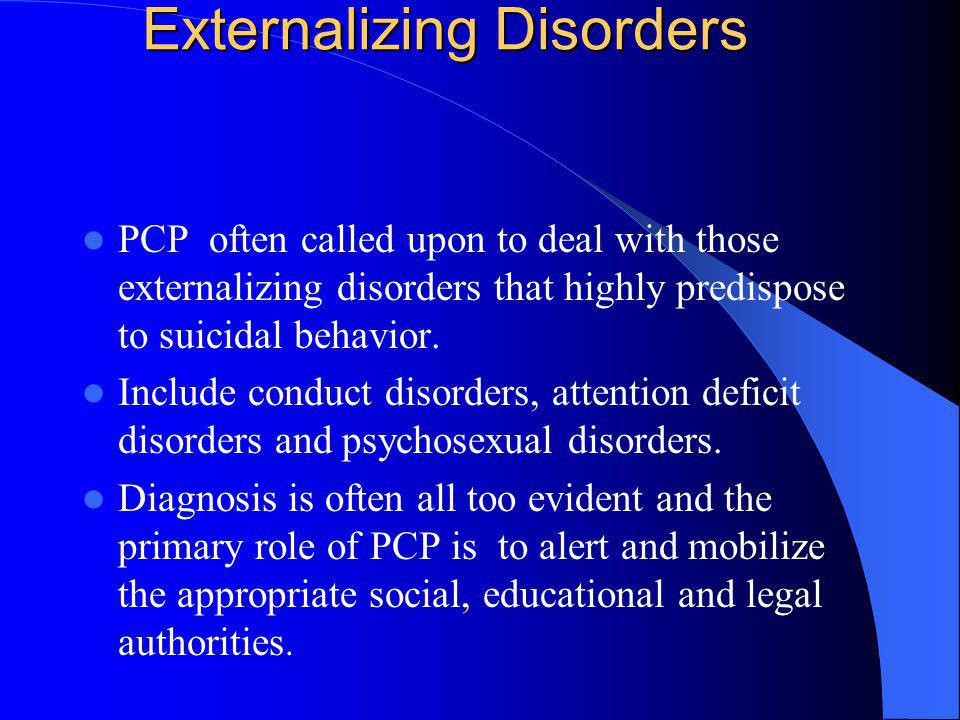 Externalizing Disorders PCP often called upon to deal with those externalizing disorders that highly predispose to suicidal behavior. Include conduct