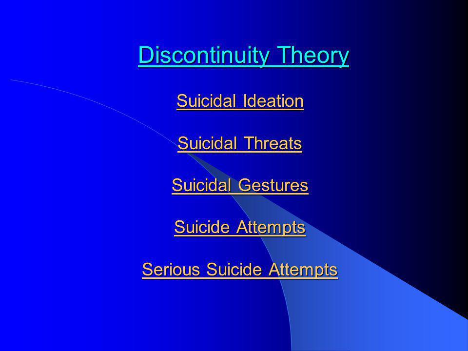 Discontinuity Theory Suicidal Ideation Suicidal Threats Suicidal Gestures Suicide Attempts Serious Suicide Attempts Discontinuity Theory Suicidal Idea