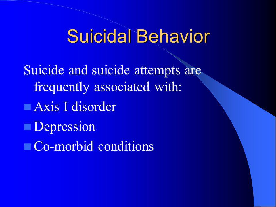 Suicidal Behavior Suicide and suicide attempts are frequently associated with: Axis I disorder Depression Co-morbid conditions