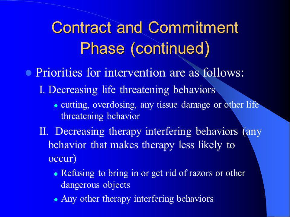 Contract and Commitment Phase (continued ) Priorities for intervention are as follows: I.Decreasing life threatening behaviors cutting, overdosing, an