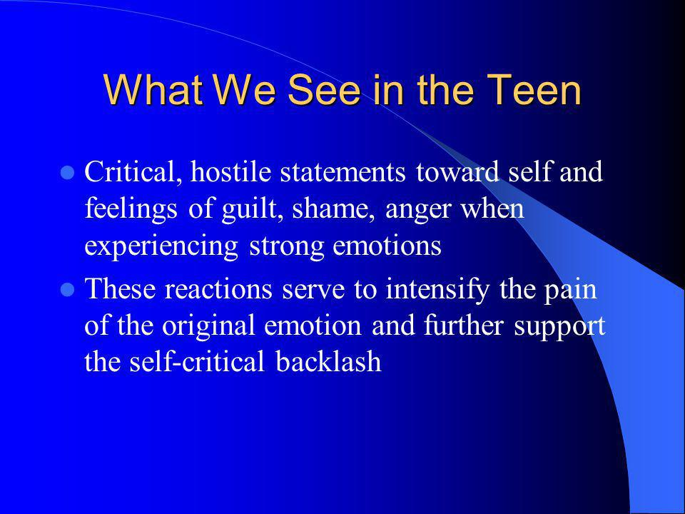 What We See in the Teen Critical, hostile statements toward self and feelings of guilt, shame, anger when experiencing strong emotions These reactions