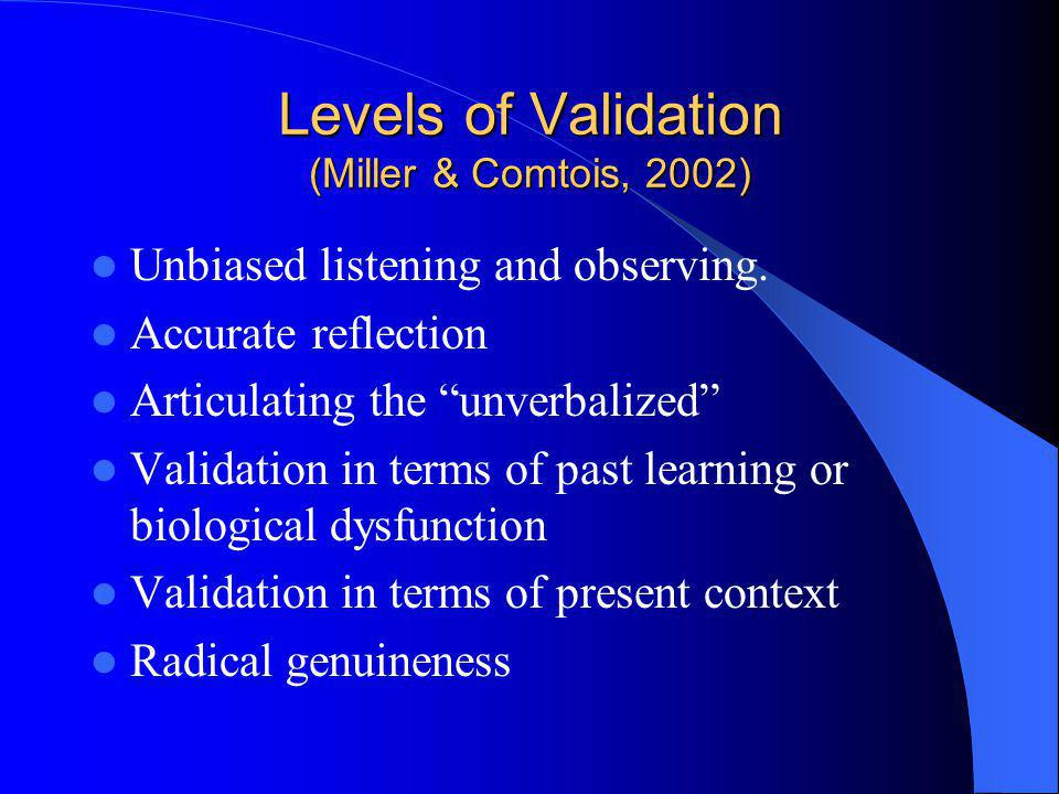 Levels of Validation (Miller & Comtois, 2002) Unbiased listening and observing. Accurate reflection Articulating the unverbalized Validation in terms