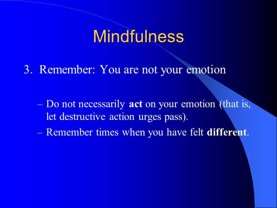 Mindfulness 3. Remember: You are not your emotion – Do not necessarily act on your emotion (that is, let destructive action urges pass). – Remember ti