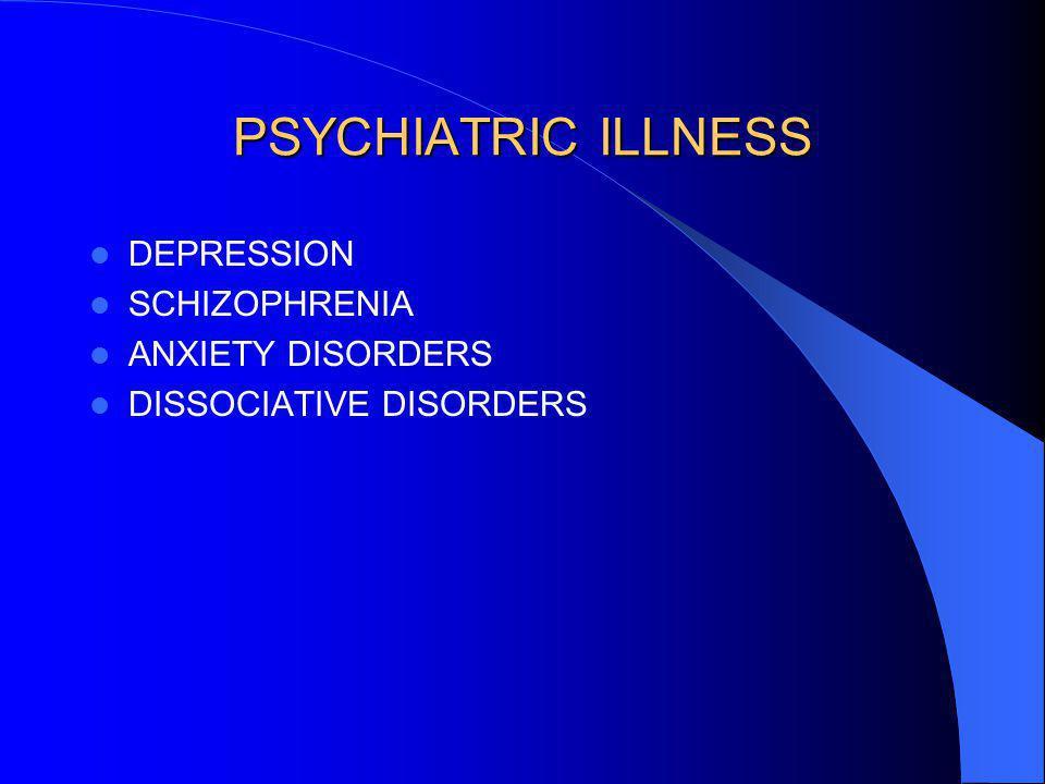 PSYCHIATRIC ILLNESS DEPRESSION SCHIZOPHRENIA ANXIETY DISORDERS DISSOCIATIVE DISORDERS