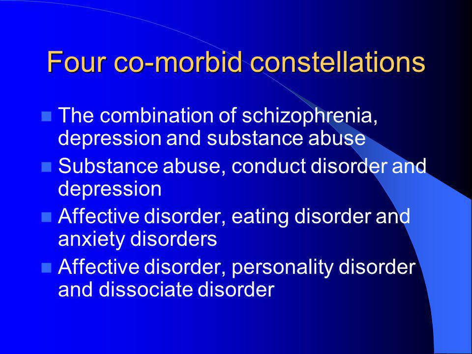 Four co-morbid constellations The combination of schizophrenia, depression and substance abuse Substance abuse, conduct disorder and depression Affect