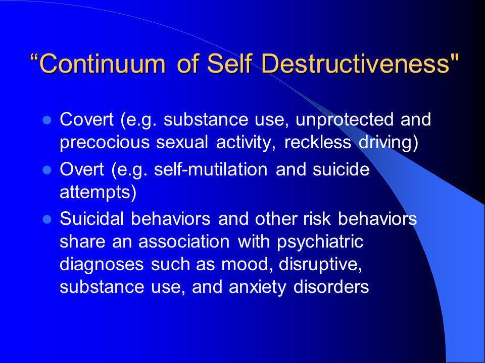 Continuum of Self Destructiveness