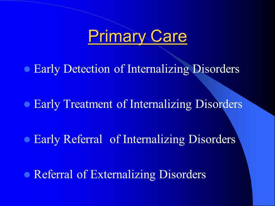 Primary Care Early Detection of Internalizing Disorders Early Treatment of Internalizing Disorders Early Referral of Internalizing Disorders Referral