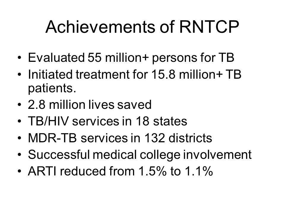 Achievements of RNTCP Evaluated 55 million+ persons for TB Initiated treatment for 15.8 million+ TB patients.