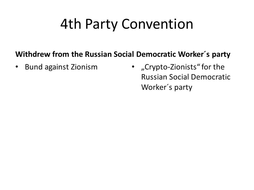 4th Party Convention Withdrew from the Russian Social Democratic Worker´s party Bund against Zionism Crypto-Zionists for the Russian Social Democratic Worker´s party
