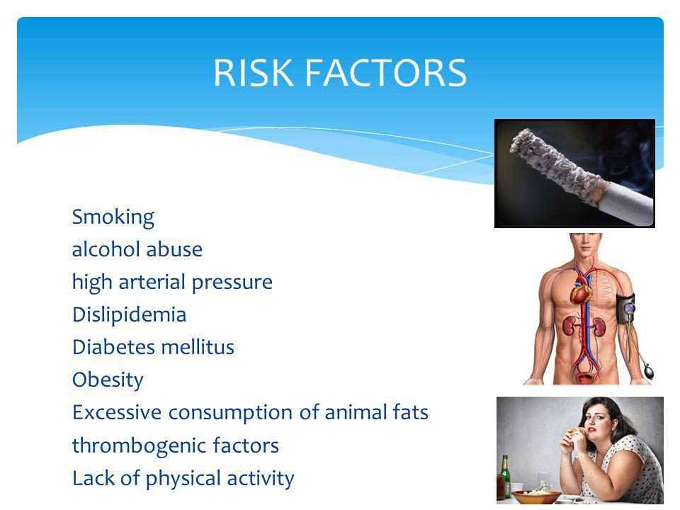 Smoking alcohol abuse high arterial pressure Dislipidemia Diabetes mellitus Obesity Excessive consumption of animal fats thrombogenic factors Lack of