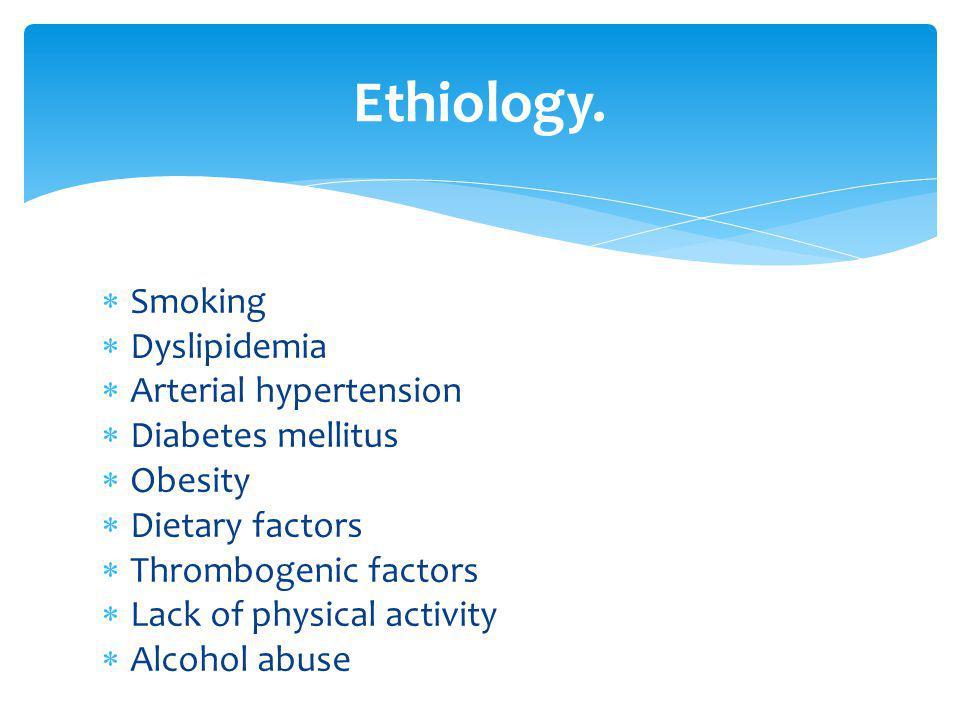Smoking Dyslipidemia Arterial hypertension Diabetes mellitus Obesity Dietary factors Thrombogenic factors Lack of physical activity Alcohol abuse Ethi