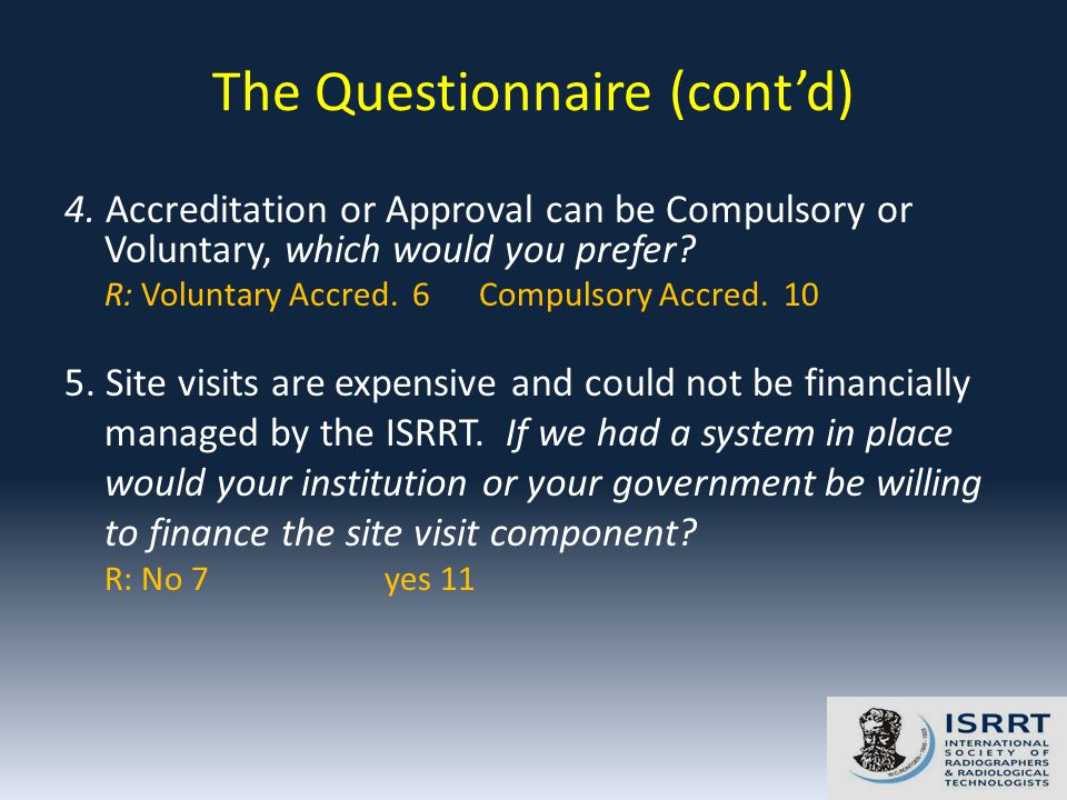 4. Accreditation or Approval can be Compulsory or Voluntary, which would you prefer.