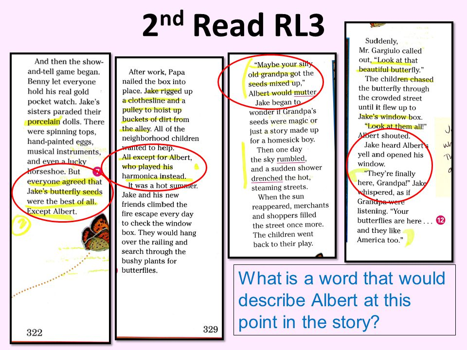 2 nd Read RL3 What is a word that would describe Albert at this point in the story?