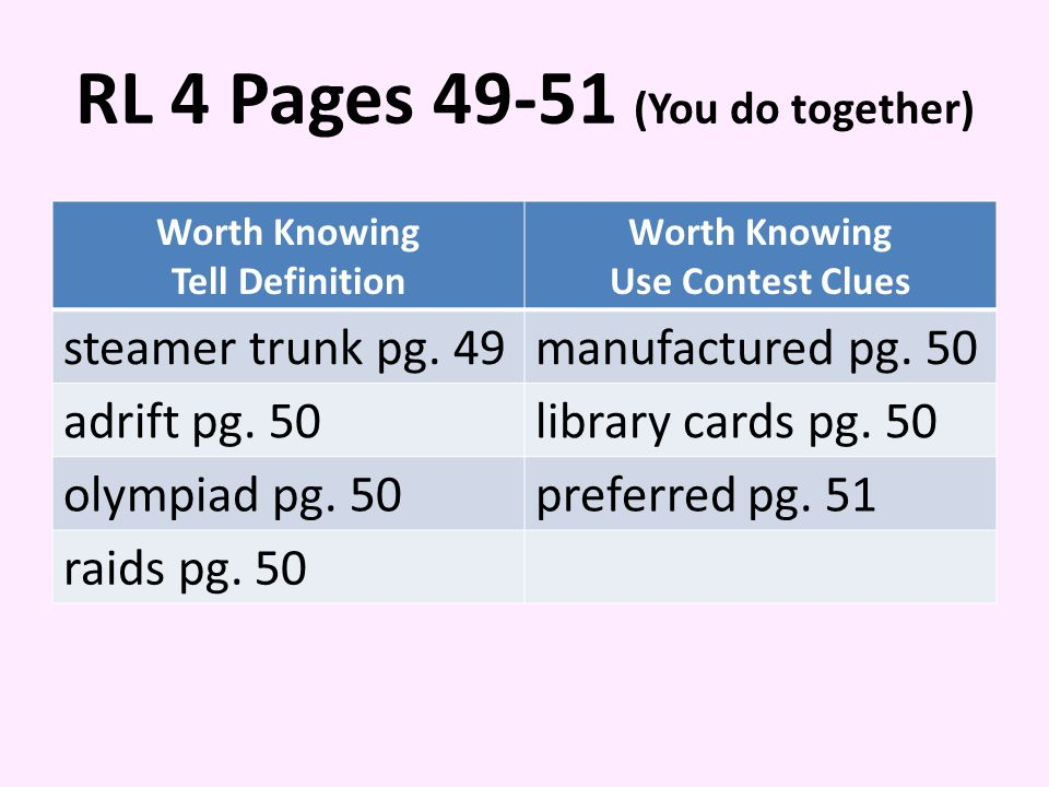 RL 4 Pages 49-51 (You do together) Worth Knowing Tell Definition Worth Knowing Use Contest Clues steamer trunk pg.