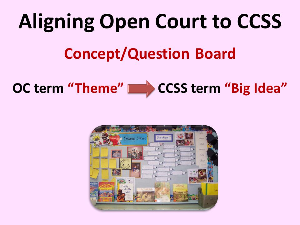Aligning Open Court to CCSS Concept/Question Board OC term Theme CCSS term Big Idea